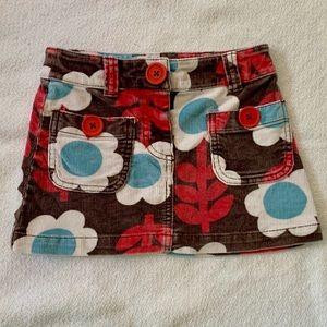 Mini Boden Floral Corduroy Skirt 3-4Y